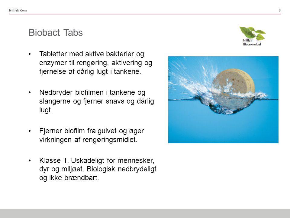 Nilfisk Kem Biobact Tabs. Tabletter med aktive bakterier og enzymer til rengøring, aktivering og fjernelse af dårlig lugt i tankene.