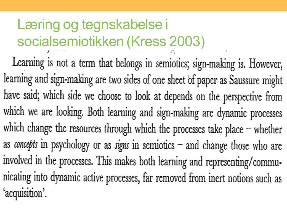Læring og tegnskabelse i socialsemiotikken (Kress 2003)