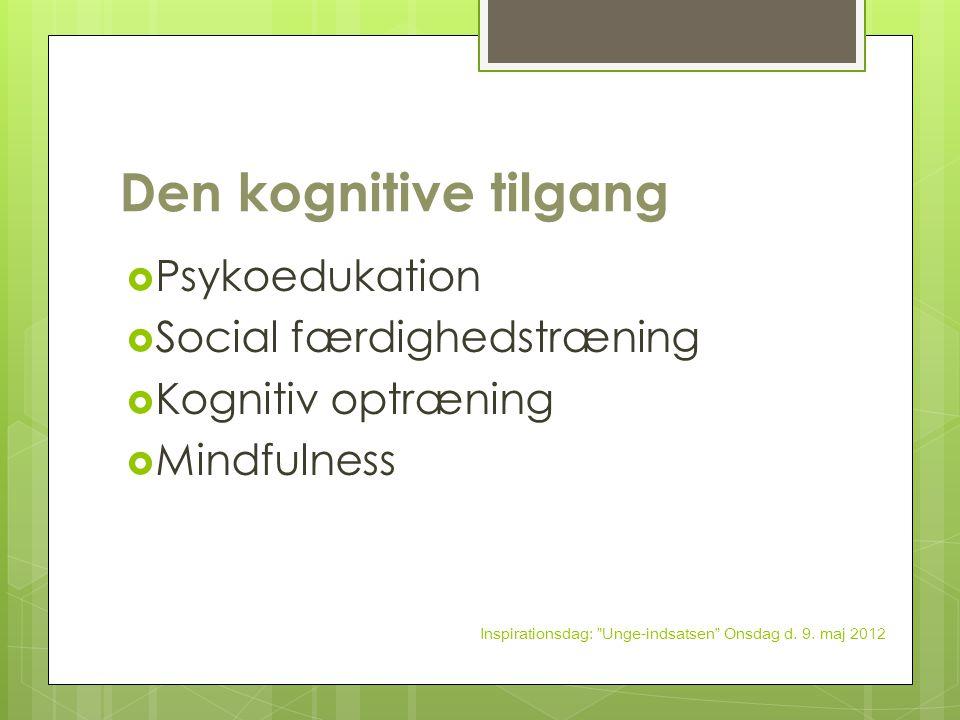 Den kognitive tilgang Psykoedukation Social færdighedstræning