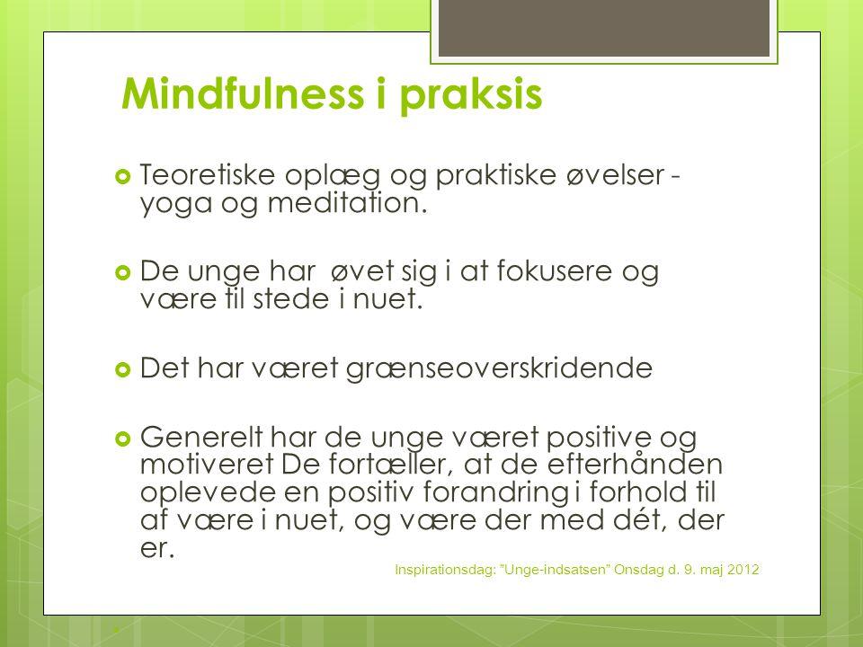 Mindfulness i praksis Teoretiske oplæg og praktiske øvelser - yoga og meditation. De unge har øvet sig i at fokusere og være til stede i nuet.