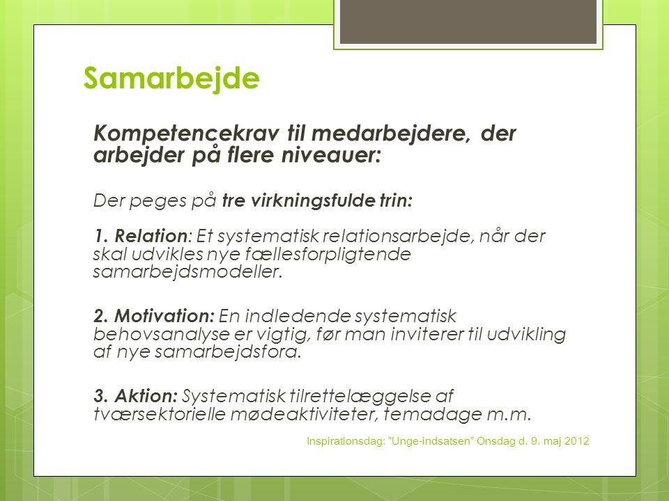 Samarbejde Kompetencekrav til medarbejdere, der arbejder på flere niveauer: Der peges på tre virkningsfulde trin: