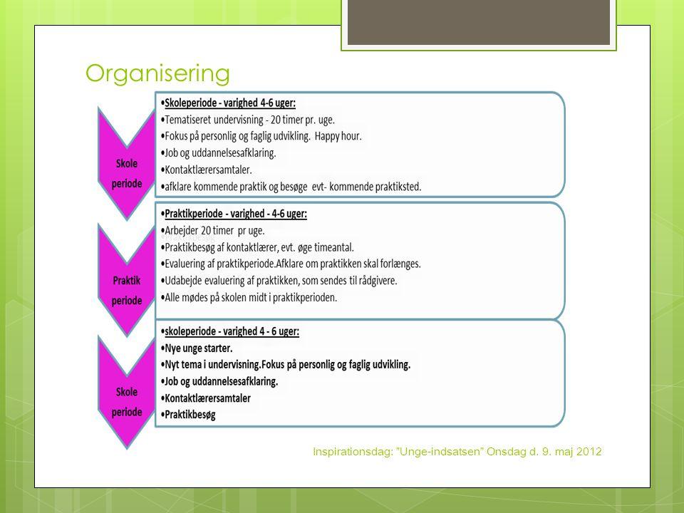 Organisering Inspirationsdag: Unge-indsatsen Onsdag d. 9. maj 2012