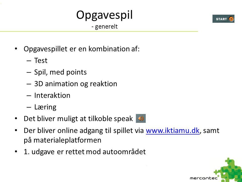 Opgavespil - generelt Opgavespillet er en kombination af: Test