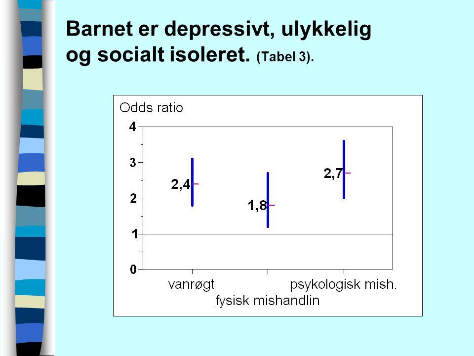 Barnet er depressivt, ulykkelig og socialt isoleret. (Tabel 3).