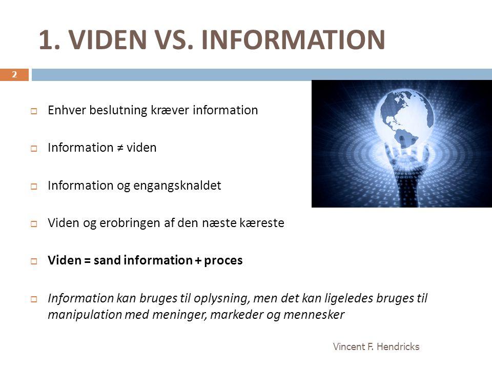 1. VIDEN VS. INFORMATION Enhver beslutning kræver information