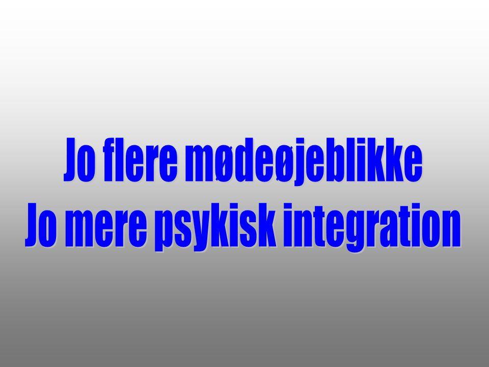 Jo flere mødeøjeblikke Jo mere psykisk integration