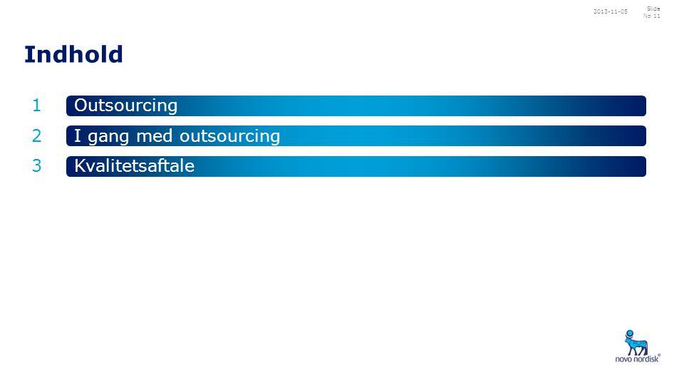 Indhold 1 2 3 Outsourcing Kvalitetsaftale I gang med outsourcing