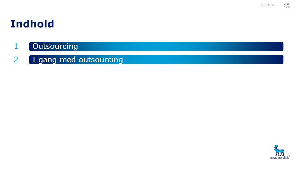 2013-11-05 Indhold 1 2 Outsourcing I gang med outsourcing
