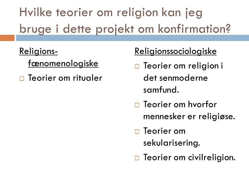 Hvilke teorier om religion kan jeg bruge i dette projekt om konfirmation