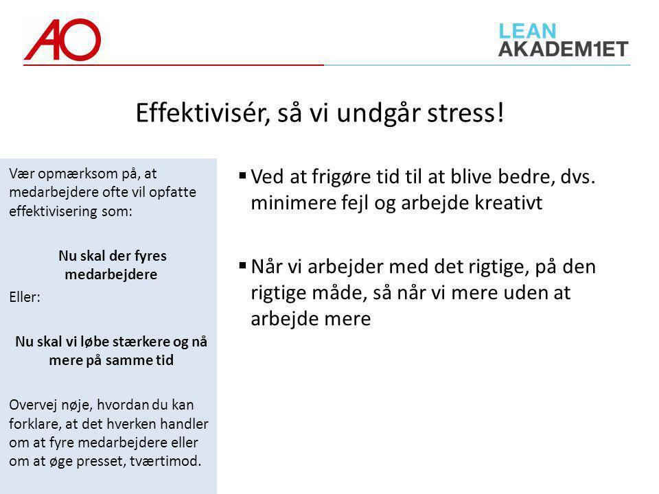 Effektivisér, så vi undgår stress!