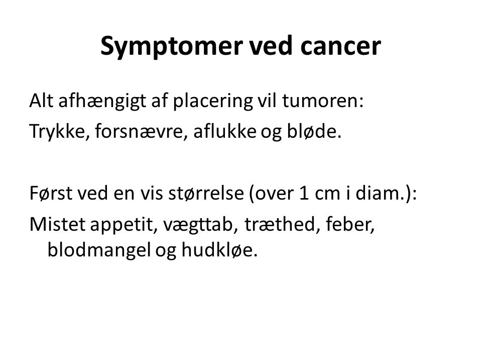 Symptomer ved cancer