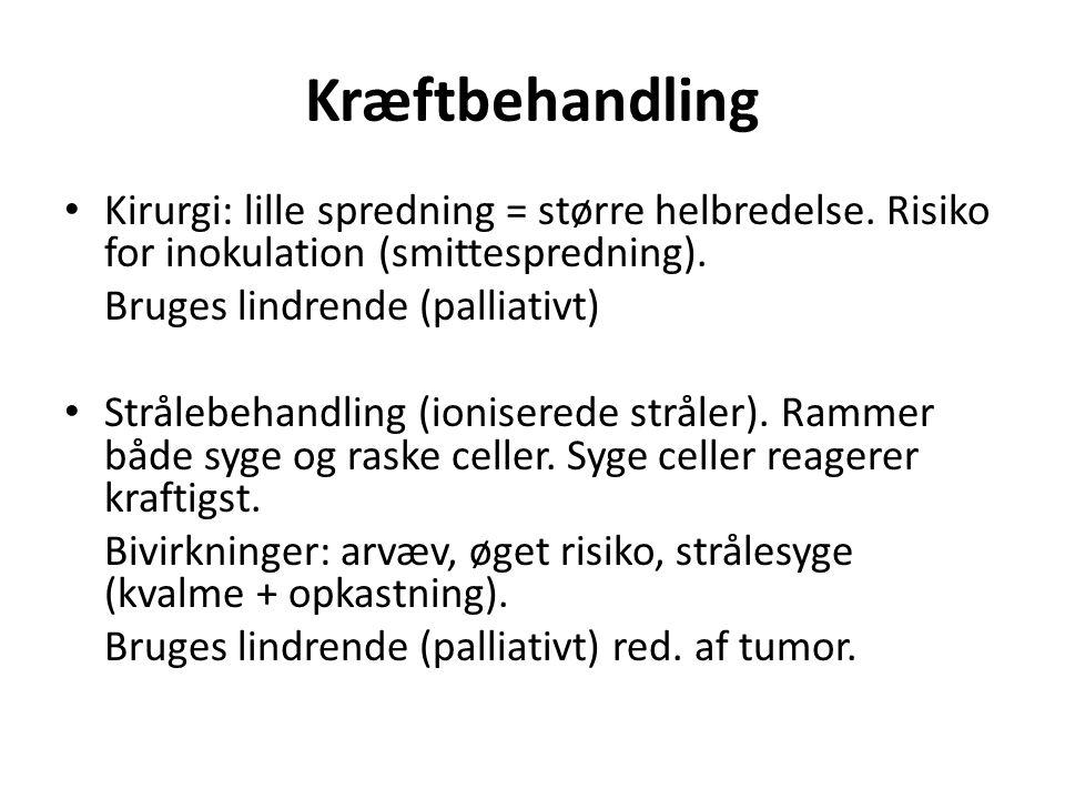 Kræftbehandling Kirurgi: lille spredning = større helbredelse. Risiko for inokulation (smittespredning).