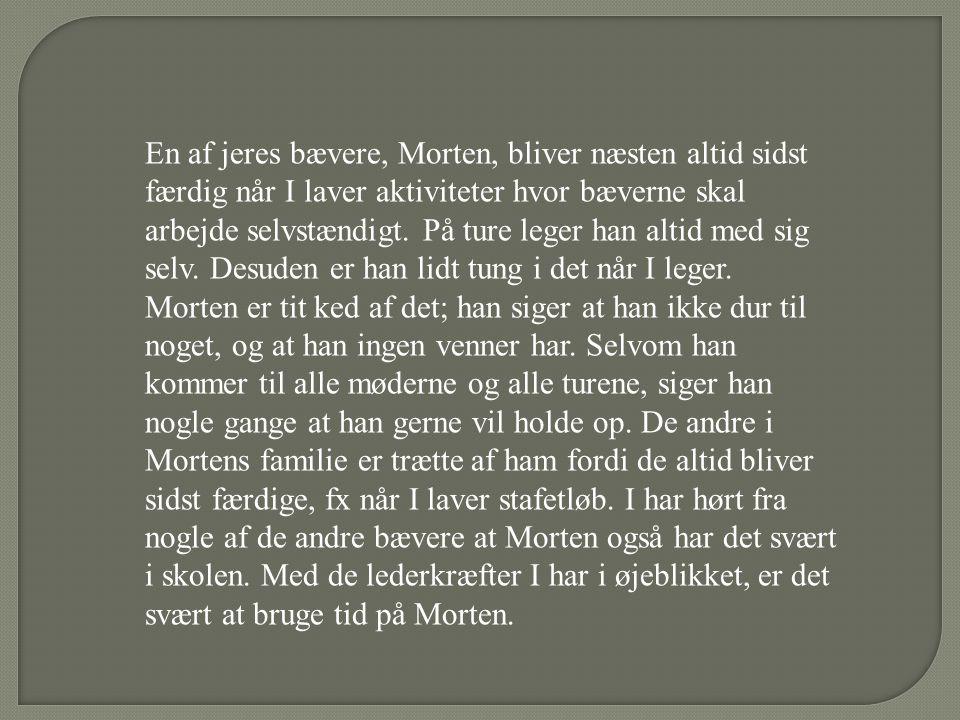 En af jeres bævere, Morten, bliver næsten altid sidst færdig når I laver aktiviteter hvor bæverne skal arbejde selvstændigt. På ture leger han altid med sig selv. Desuden er han lidt tung i det når I leger.