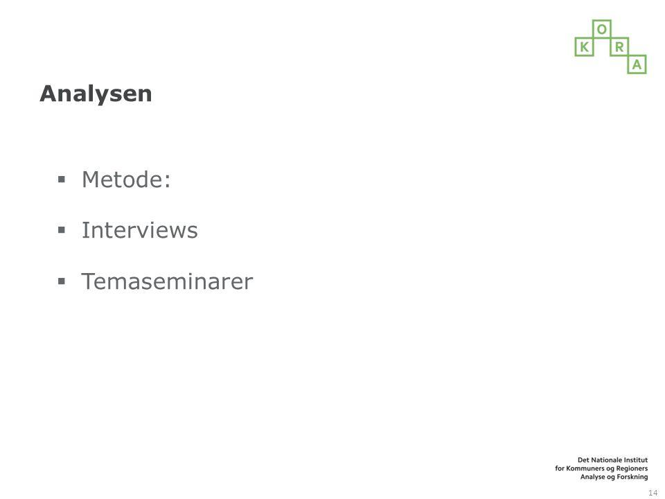 Analysen Metode: Interviews Temaseminarer