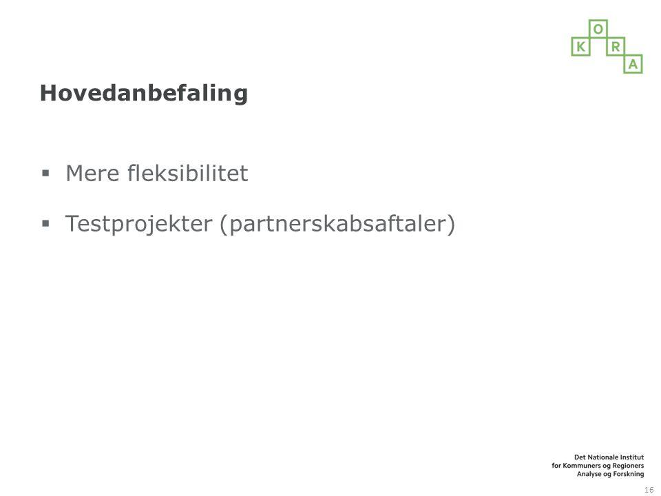 Hovedanbefaling Mere fleksibilitet Testprojekter (partnerskabsaftaler)
