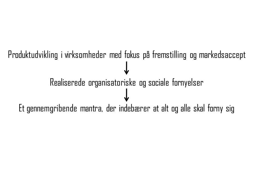 Realiserede organisatoriske og sociale fornyelser