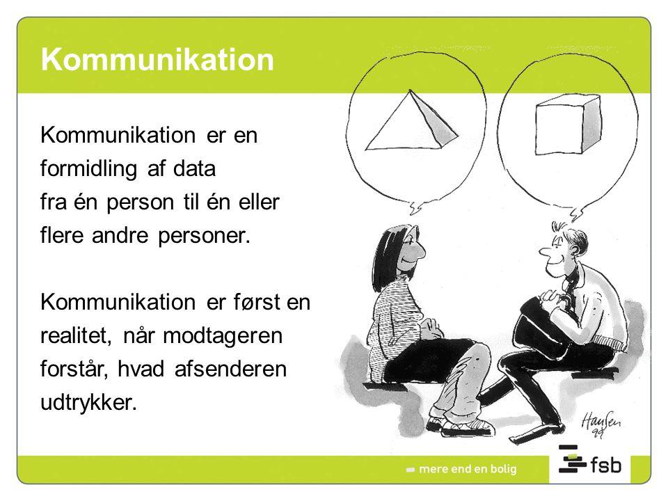 Kommunikation Kommunikation er en formidling af data