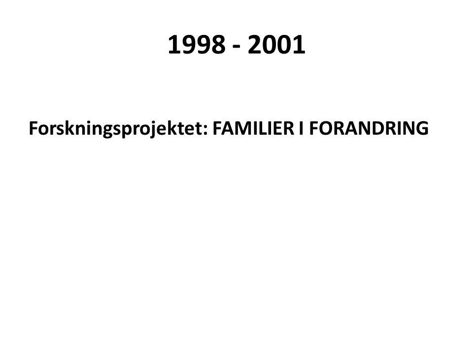 1998 - 2001 Forskningsprojektet: FAMILIER I FORANDRING