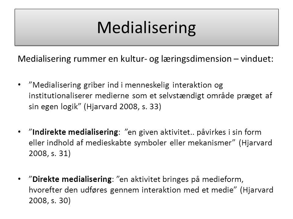 Medialisering Medialisering rummer en kultur- og læringsdimension – vinduet:
