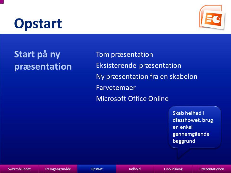 Opstart Start på ny præsentation Tom præsentation