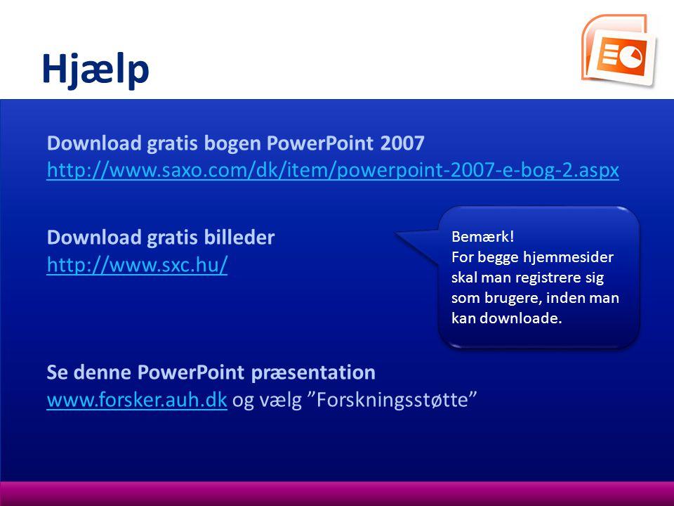 Hjælp Download gratis bogen PowerPoint 2007