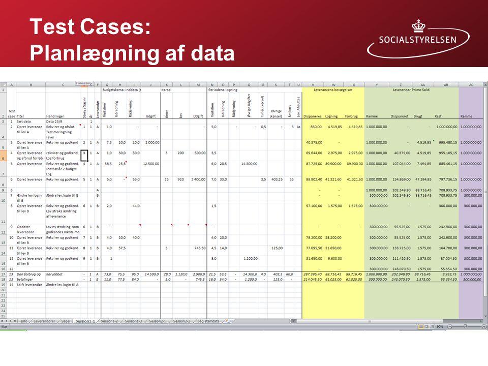 Test Cases: Planlægning af data