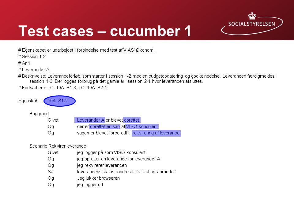 Test cases – cucumber 1 Forudsætninger