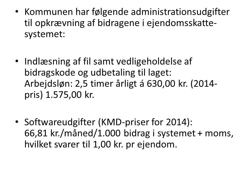 Kommunen har følgende administrationsudgifter til opkrævning af bidragene i ejendomsskatte-systemet: