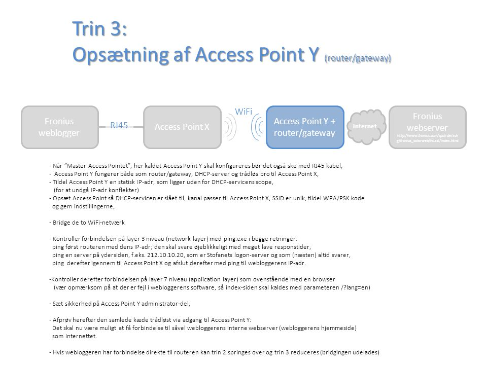 Trin 3: Opsætning af Access Point Y (router/gateway)
