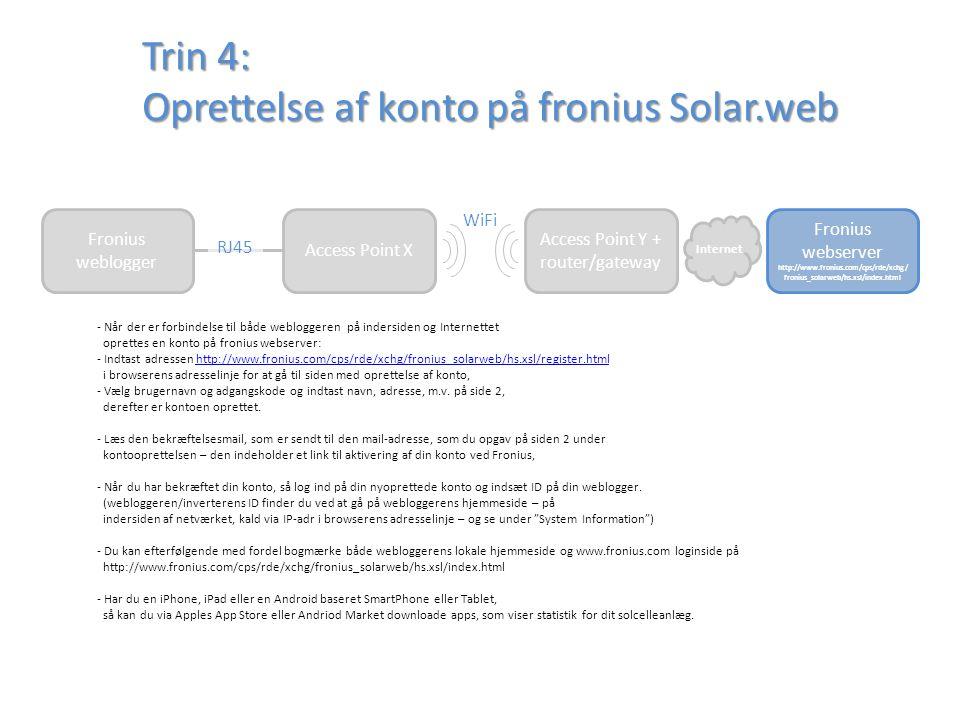 Trin 4: Oprettelse af konto på fronius Solar.web