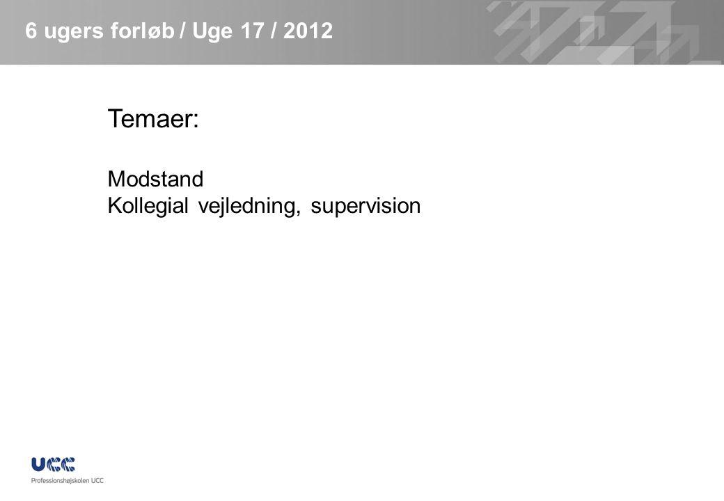 Temaer: 6 ugers forløb / Uge 17 / 2012 Modstand
