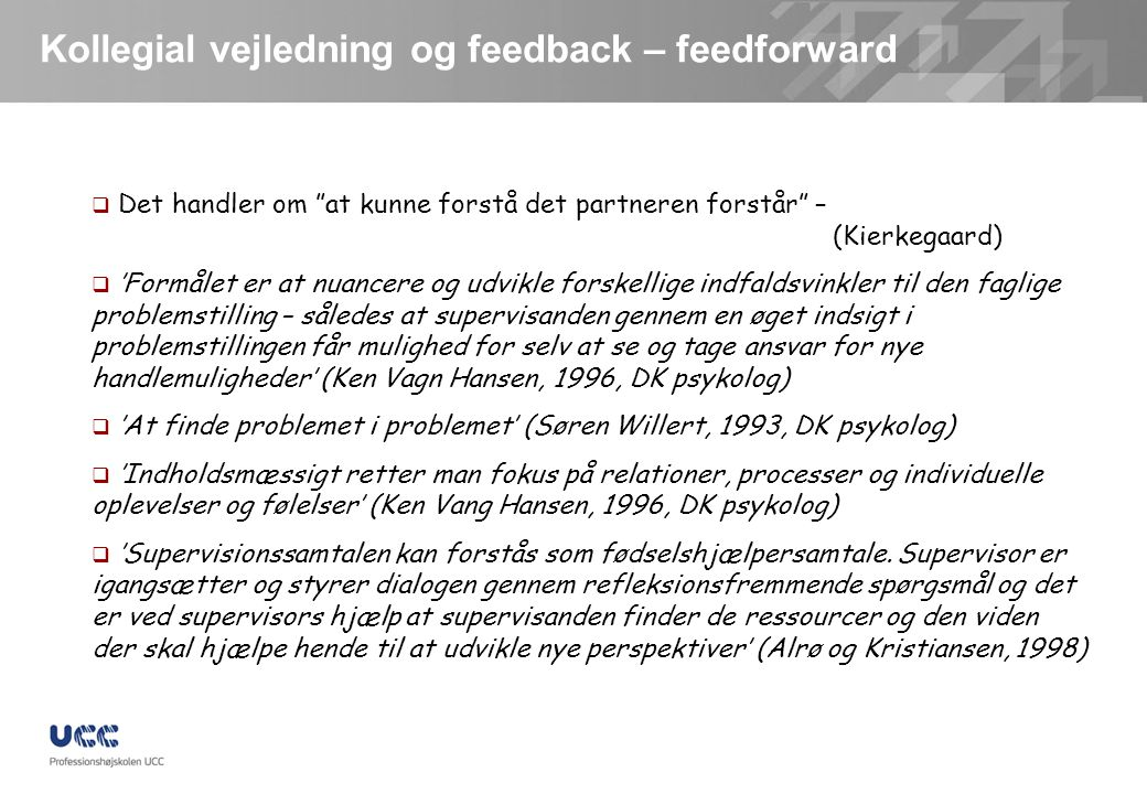 Kollegial vejledning og feedback – feedforward