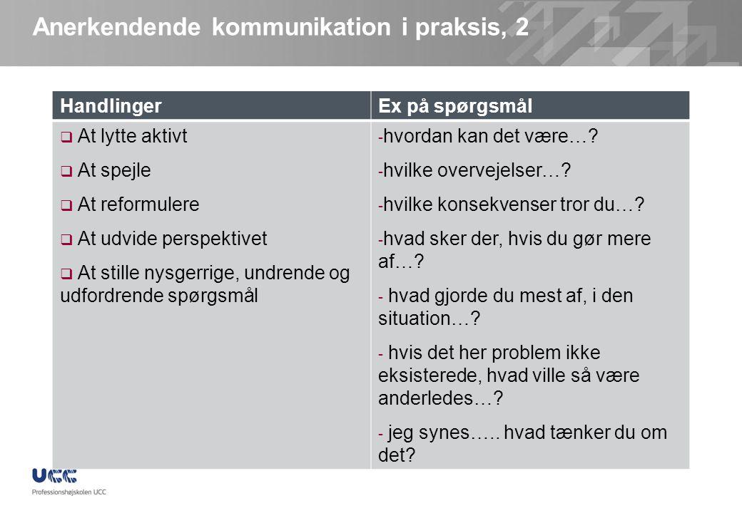 Anerkendende kommunikation i praksis, 2