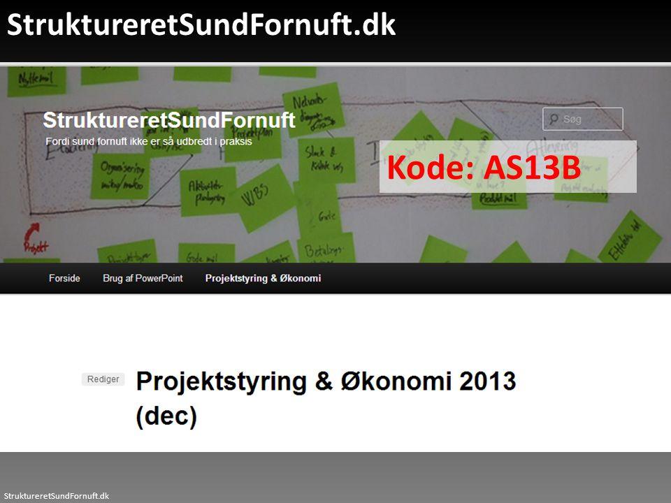 StruktureretSundFornuft.dk Kode: AS13B