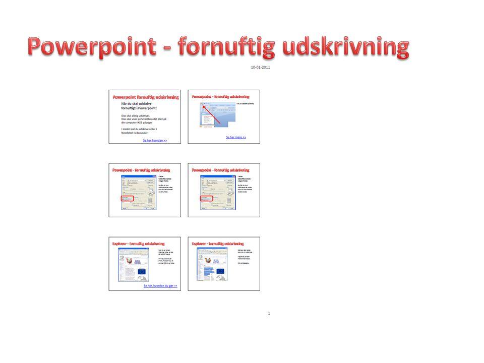 Powerpoint - fornuftig udskrivning