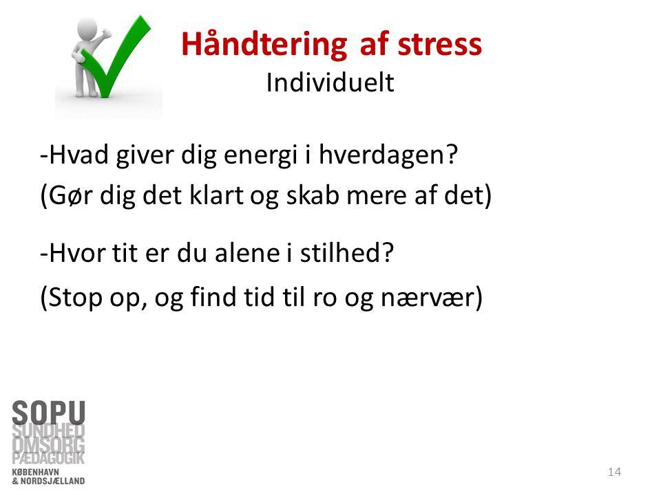 Håndtering af stress Individuelt -Hvad giver dig energi i hverdagen