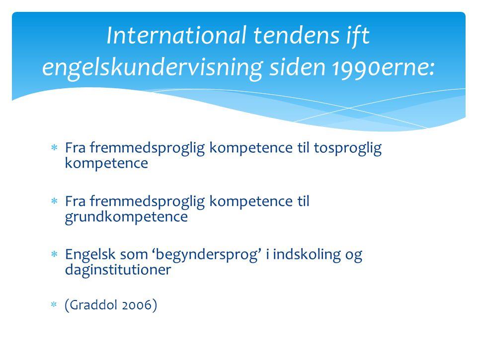 International tendens ift engelskundervisning siden 1990erne: