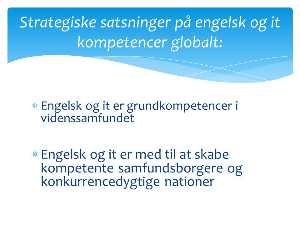 Strategiske satsninger på engelsk og it kompetencer globalt: