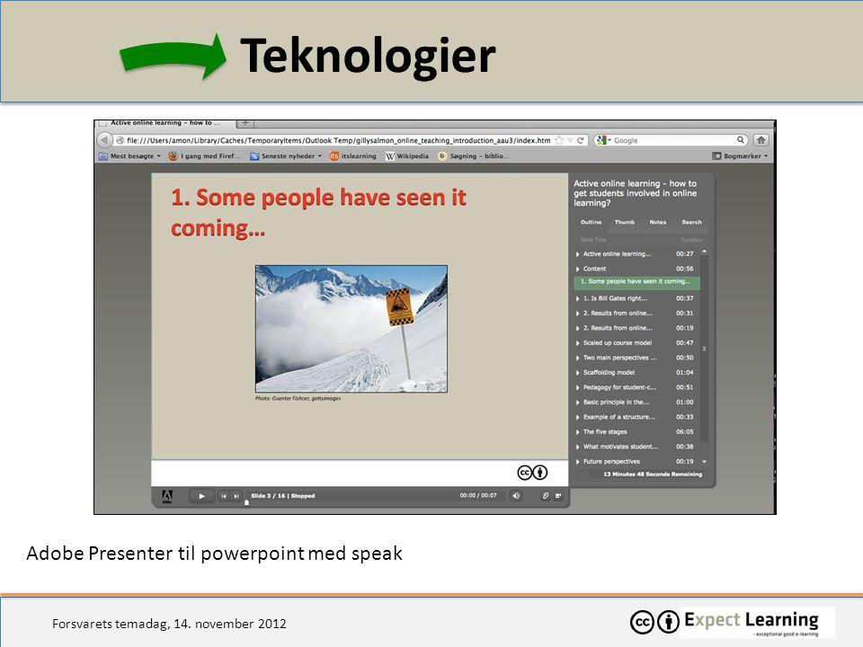 Teknologier Adobe Presenter til powerpoint med speak