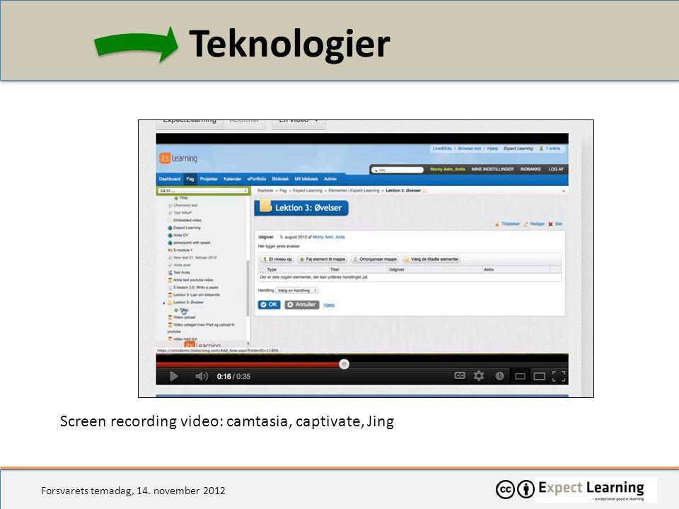Teknologier Screen recording video: camtasia, captivate, Jing