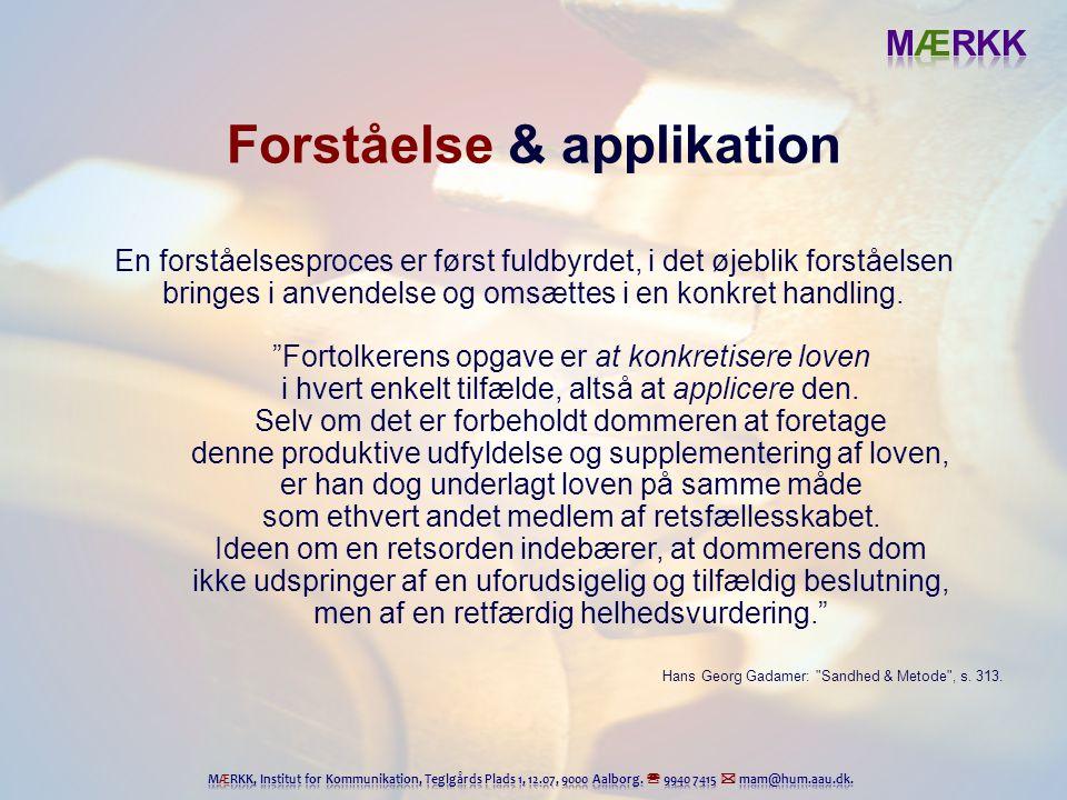 Forståelse & applikation