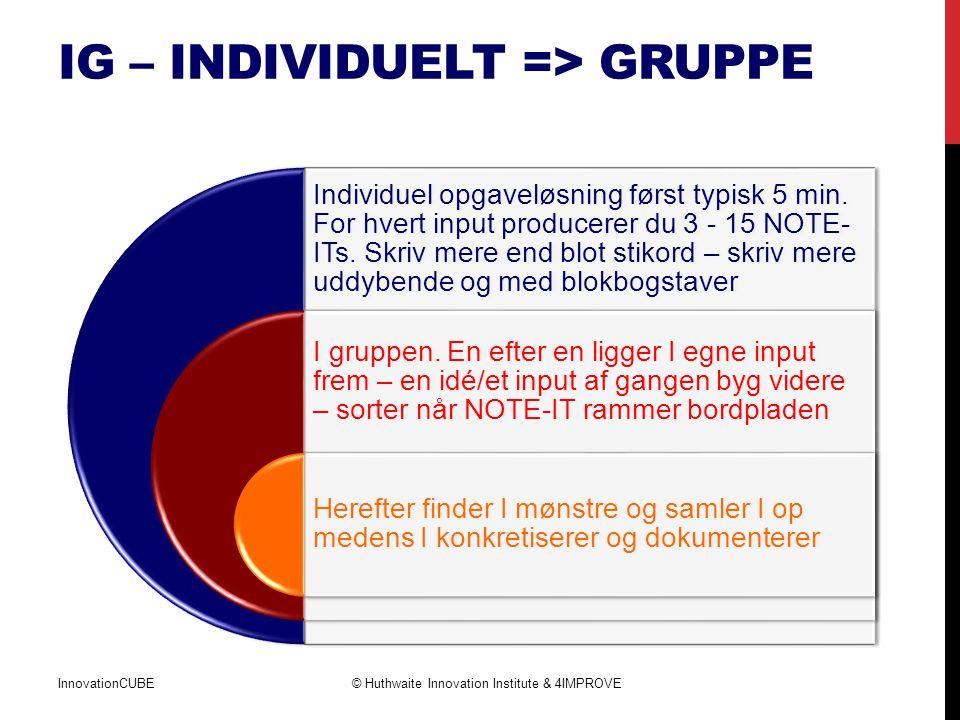 IG – individuelT => gruppe