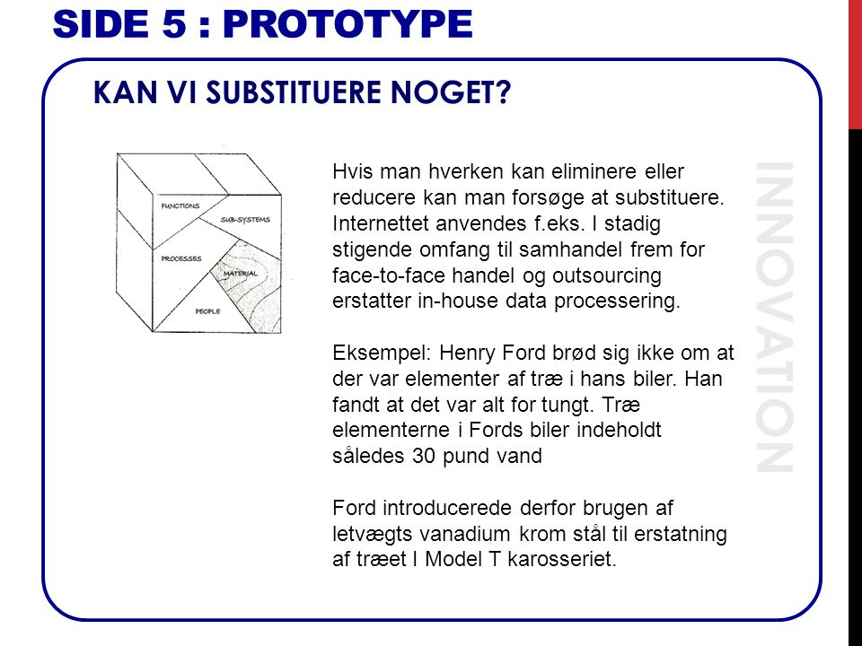 INNOVATION SIDE 5 : Prototype KAN VI SUBSTITUERE NOGET