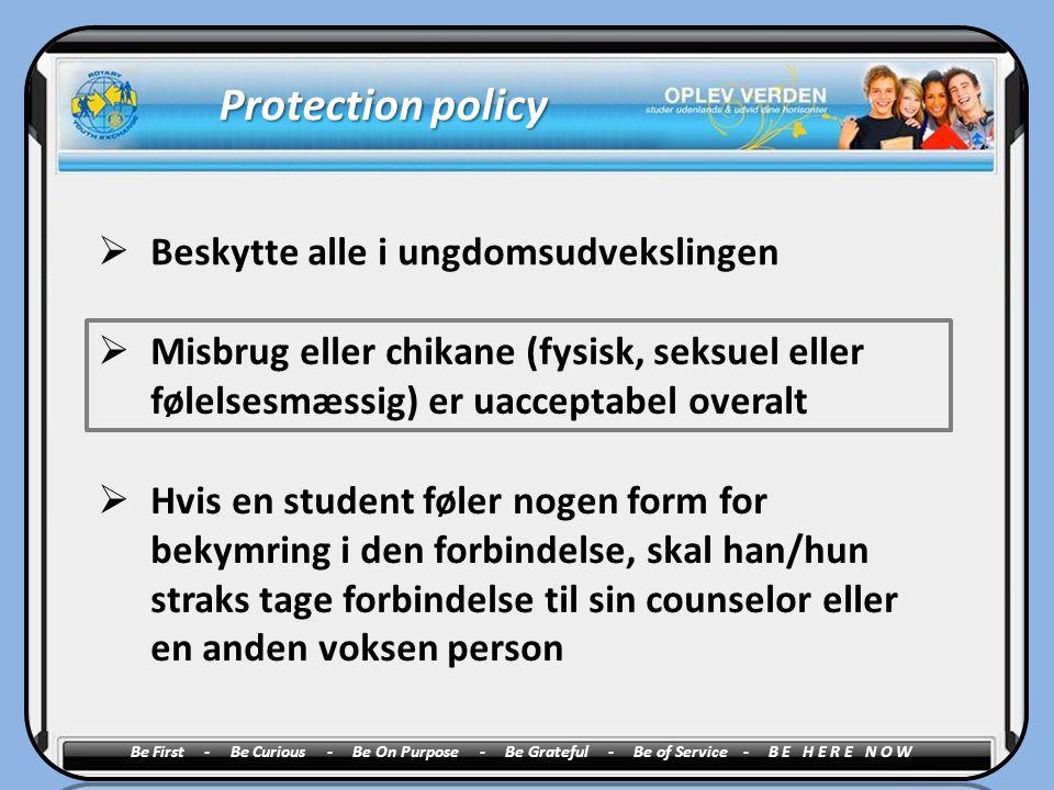 Protection policy Beskytte alle i ungdomsudvekslingen