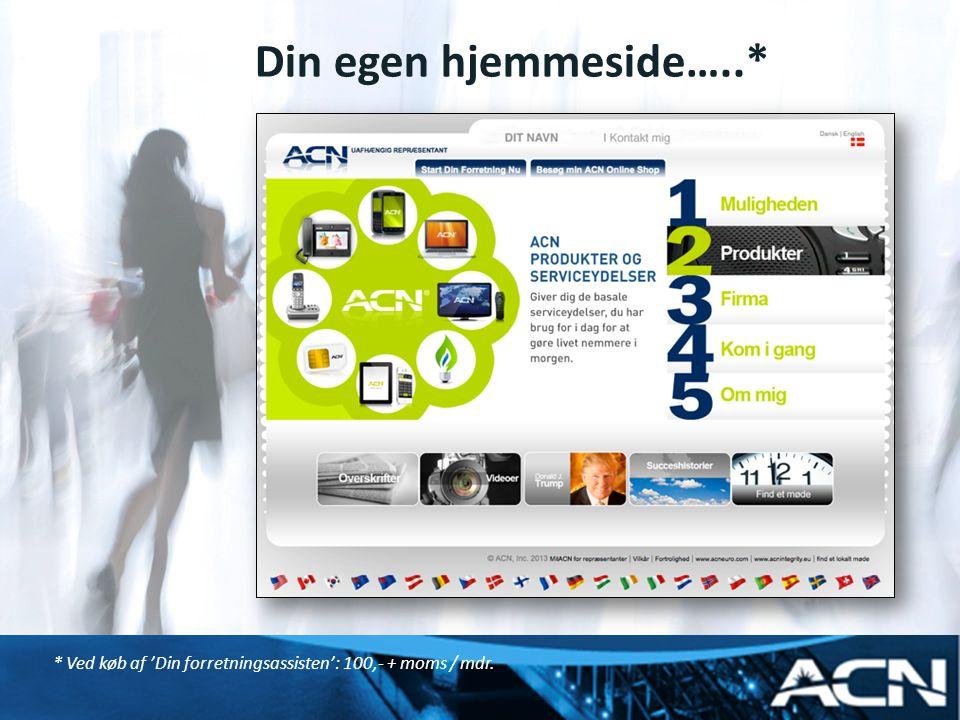 Din egen hjemmeside…..* * Ved køb af 'Din forretningsassisten': 100,- + moms / mdr.