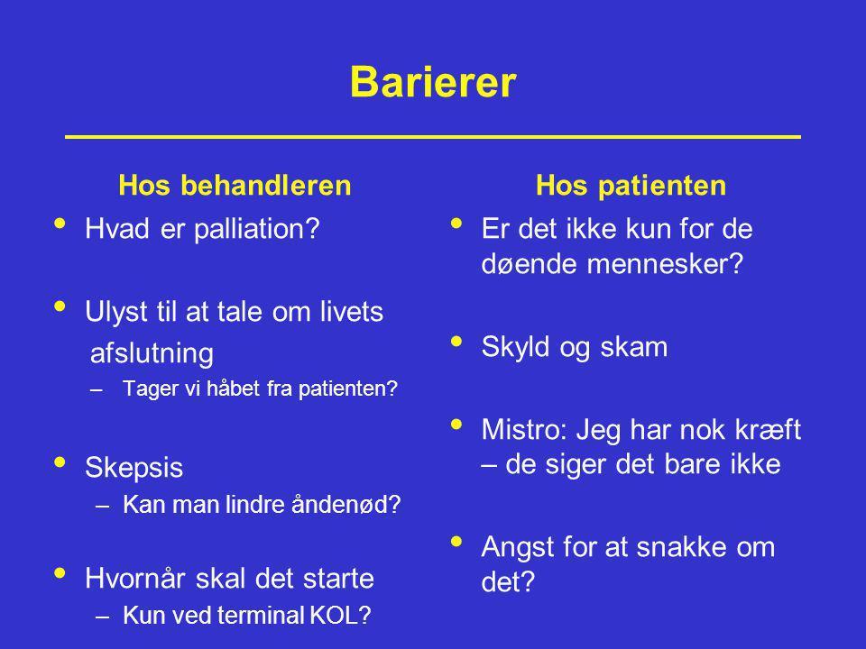 Barierer Hos behandleren Hos patienten Hvad er palliation