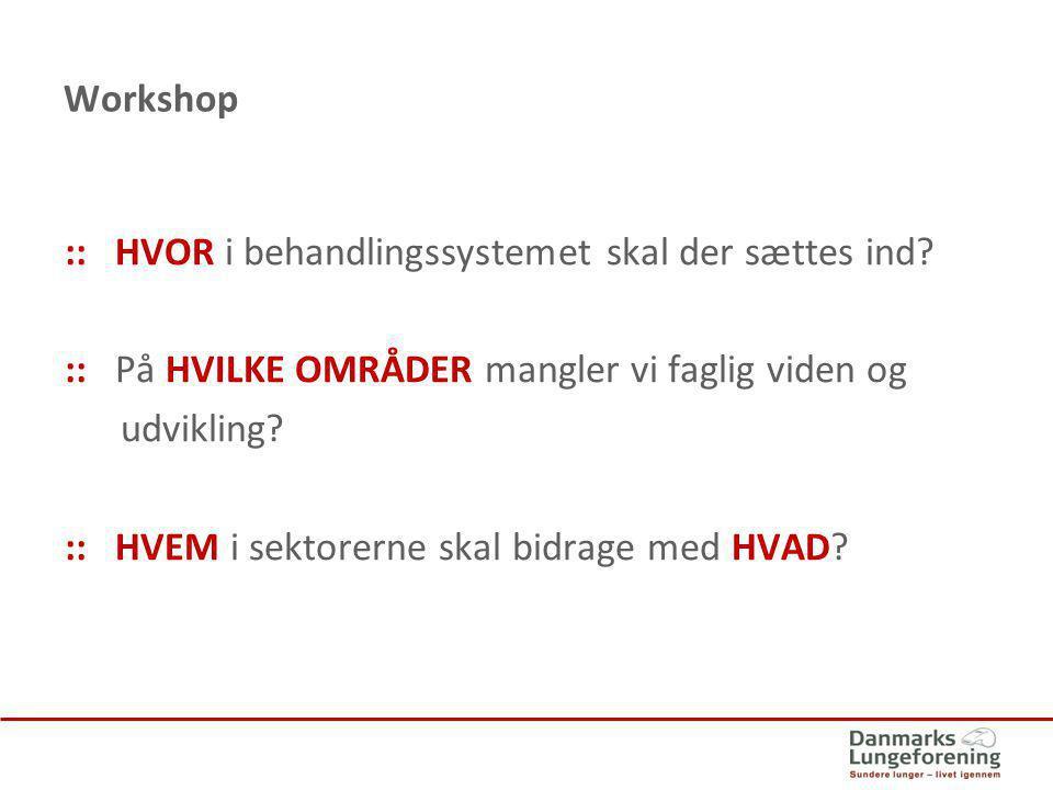Workshop :: HVOR i behandlingssystemet skal der sættes ind :: På HVILKE OMRÅDER mangler vi faglig viden og.