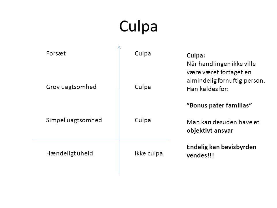 Culpa Forsæt Grov uagtsomhed Simpel uagtsomhed Hændeligt uheld Culpa