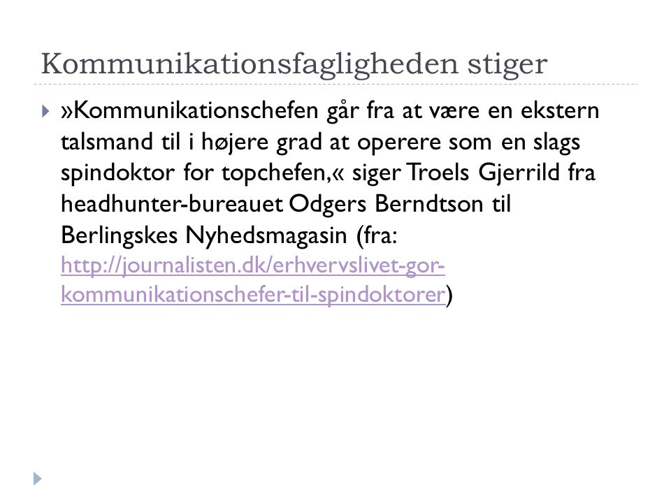 Kommunikationsfagligheden stiger