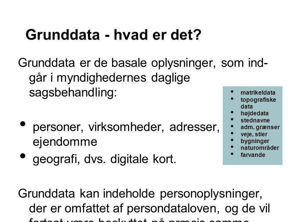 Grunddata - hvad er det Grunddata er de basale oplysninger, som ind- går i myndighedernes daglige sagsbehandling:
